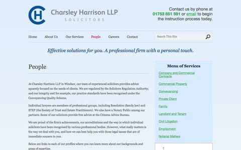 Screenshot of Team Page charsleyharrison.com - People | Charsley Harrison LLP | Windsor Solicitors - captured Nov. 1, 2014