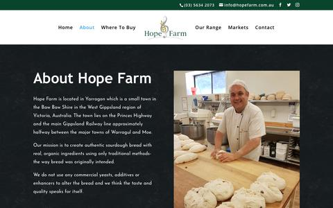 Screenshot of About Page hopefarm.com.au - Hope Farm Bakery | Yarragon Sourdough Bakery - About - captured Sept. 29, 2018