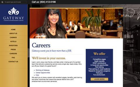 Screenshot of Jobs Page gatewaycasinos.com - Careers | http://www.gatewaycasinos.com - captured Oct. 2, 2014