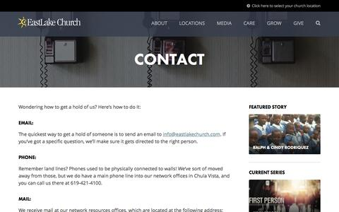 Screenshot of Contact Page eastlakechurch.com - Contact | EastLake Church - captured July 10, 2016