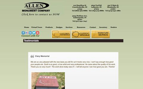 Screenshot of Testimonials Page allenmonuments.com - Testimonials - Allen Monument CompanyAllen Monument Company - captured Oct. 8, 2017