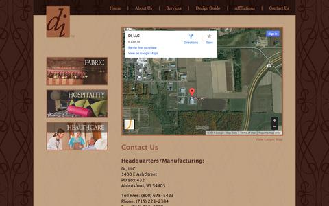Screenshot of Contact Page decoratorindustries.com - Contact Us   DI, LLC   Custom Crafted Interior Furnishing Products - captured Oct. 5, 2014