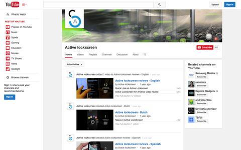 Screenshot of YouTube Page youtube.com - Active lockscreen  - YouTube - captured Oct. 22, 2014