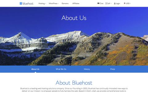 Screenshot of About Page bluehost.com - About Us - A Leading Web Hosting Solutions Company - Bluehost - captured Oct. 9, 2019