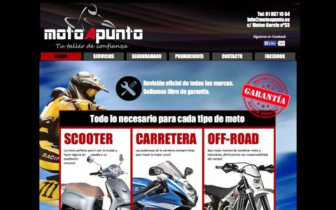 Screenshot of Home Page motoapunto.es - MOTOAPUNTO. Taller de motos Madrid. Tu taller de confianza. - captured Oct. 7, 2014
