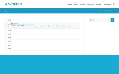 Screenshot of Press Page amidebio.com - News   AmideBio LLC - captured Dec. 6, 2016