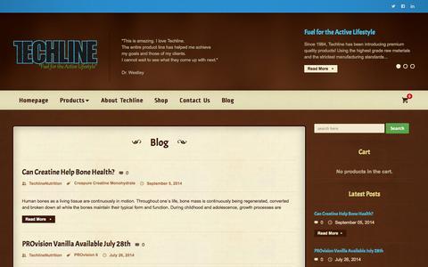 Screenshot of Blog techlinenutrition.com - Techline Nutrition | Fuel for the Active Lifestyle - captured Oct. 26, 2014