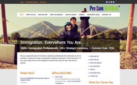 Screenshot of Home Page pro-linkglobal.com - Pro-Link GLOBAL | Corporate Global Visa & Immigration Services - captured Sept. 30, 2014