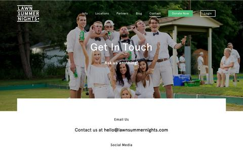 Screenshot of Contact Page lawnsummernights.com - Contact - Lawn Summer Nights - captured July 16, 2018