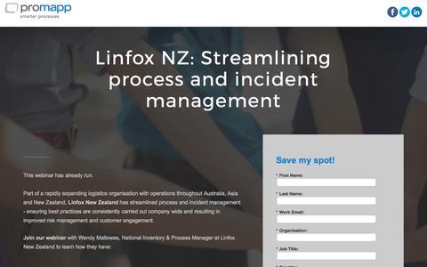 Screenshot of Landing Page promapp.com - Webinar: Linfox NZ: Streamlining process and incident management - captured May 30, 2017