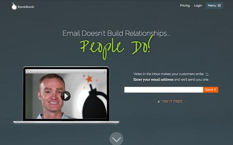 Screenshot of Home Page bombbomb.com - Build Better Relationships with Video Email - BombBomb - captured Sept. 13, 2014