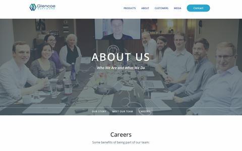 Screenshot of Jobs Page glencoesoftware.com - Careers | Glencoe Software, Inc. - captured July 19, 2018