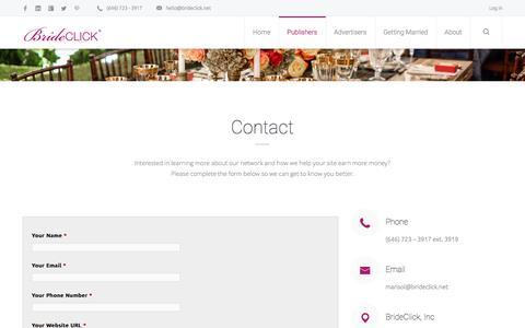 Screenshot of Signup Page brideclick.net - Publisher Sign Up - Wedding Advertising Network - BrideClick - captured Jan. 7, 2016