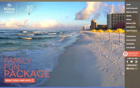 Screenshot of Home Page hiltonsandestinbeach.com - DestinFloridaResorts|Destin Beach Hotels |HiltonSandestinBeachResort & Spa - - captured Sept. 22, 2014