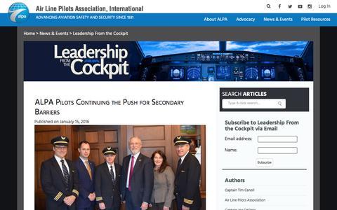 Screenshot of Blog alpa.org - ALPA Blog - captured Jan. 19, 2016