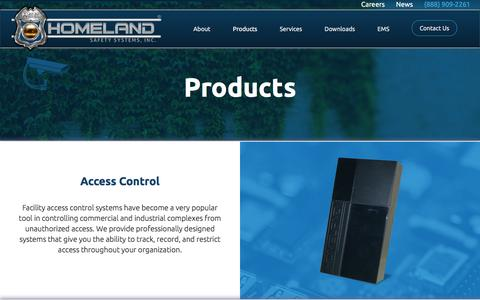 Screenshot of Products Page homelandsafetysystems.com - Products | Homeland Safety Systems - captured Aug. 28, 2017