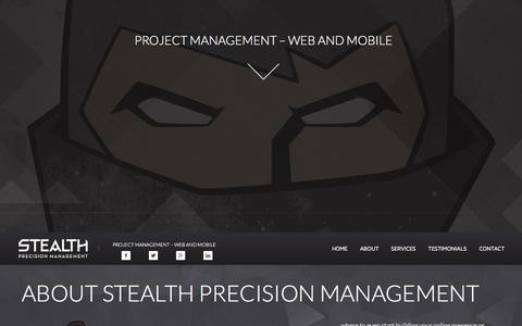 Screenshot of Contact Page Services Page stealthpm.com - Stealth Project Management - captured Oct. 9, 2014