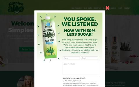 Screenshot of Home Page simpleealoe.com - Home - Simplee Aloe - captured Oct. 19, 2018