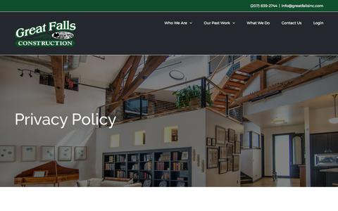 Screenshot of Privacy Page greatfallsinc.com - Privacy Policy - Great Falls Construction - captured Sept. 17, 2017