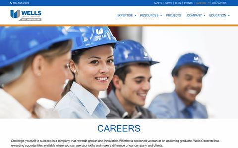 Screenshot of Jobs Page wellsconcrete.com - Careers - Wells Concrete - captured June 20, 2017