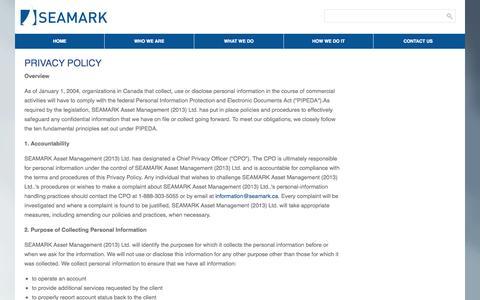 Screenshot of Privacy Page seamark.ca - PRIVACY POLICY - SEAMARK Asset Management Ltd - captured Nov. 2, 2014