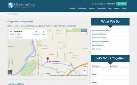 Screenshot of Contact Page mainstreethost.com - Contact Mainstreethost | (888) 874-3791 | Buffalo, NY & Las Vegas, NV Offices - captured Sept. 23, 2014