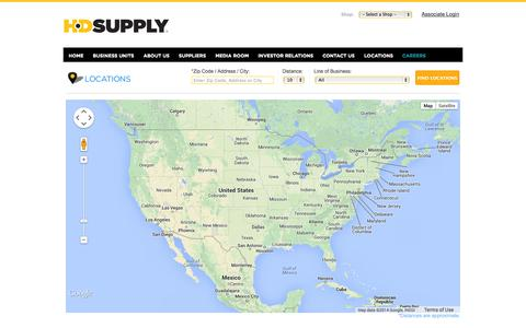 Screenshot of Locations Page hdsupply.com - Find HD Supply Locations - captured Sept. 25, 2014