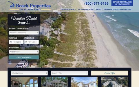 Screenshot of Home Page beach-property.com - Hilton Head Island Vacation Rentals | Beach Properties - captured Oct. 5, 2018