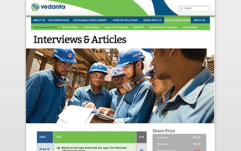 Screenshot of vedantaresources.com - Vedanta Resources - News & Media, Interviews & Articles. - captured Dec. 9, 2016