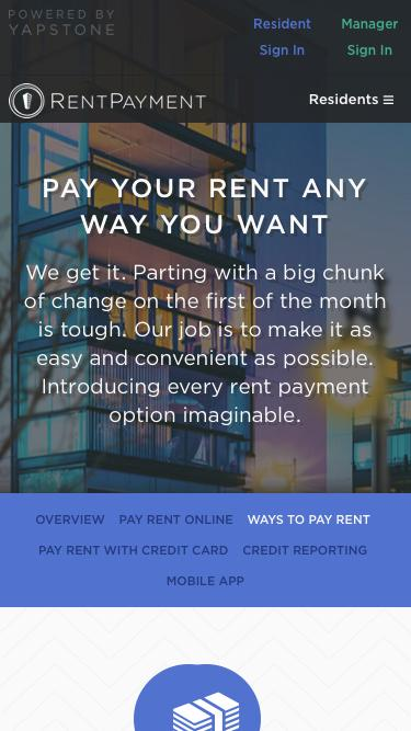 Screenshot of Signup Page  rentpayment.com - Ways to Pay Your Rent with RentPayment
