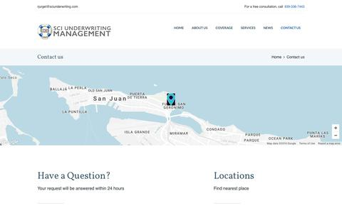 Screenshot of Contact Page Locations Page sciunderwriting.com - Contact us – SCI Underwriting Management LLC - captured Nov. 17, 2016