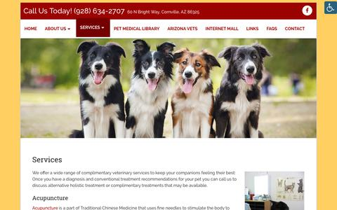Screenshot of Services Page apahvet.com - Veterinarian in Cornville, AZ | All Pets Acupuncture and HHC - captured Oct. 3, 2018