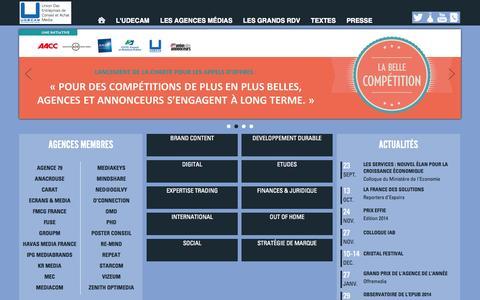 Screenshot of Home Page udecam.fr - UDECAM - UNION DES ENTREPRISES DE CONSEIL ET ACHAT MEDIA - captured Sept. 25, 2014