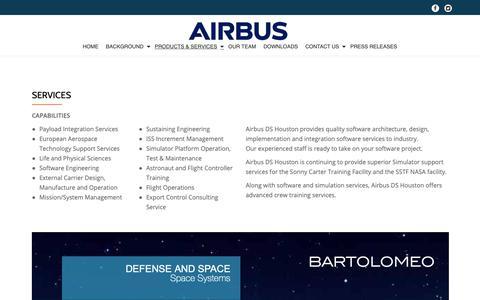 Screenshot of Services Page airbusdshouston.com - SERVICES - Airbus DS Houston - captured Nov. 1, 2018
