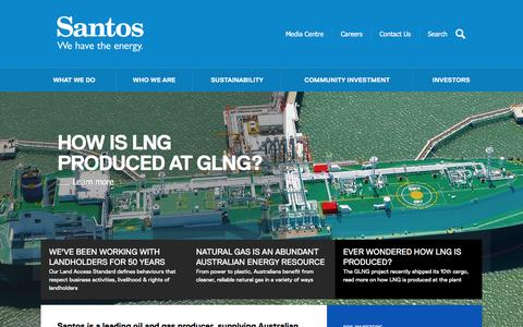 Screenshot of Home Page santos.com - Santos - We have the energy - Home - captured Feb. 2, 2016