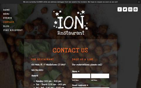 Screenshot of Contact Page ionrestaurant.com - Quinoa be friends? — It's Only Natural Restaurant - captured Oct. 6, 2014