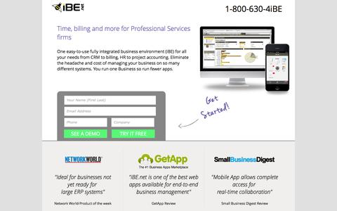 Screenshot of Landing Page ibe.net - Time & Expense Management Software | Web & Mobile | Try it free - captured Oct. 27, 2014