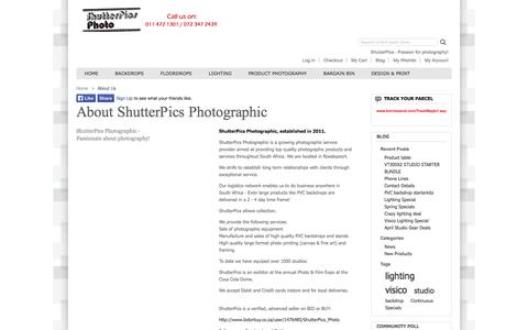 Screenshot of About Page shutterpics.co.za - About Us - captured Oct. 26, 2014