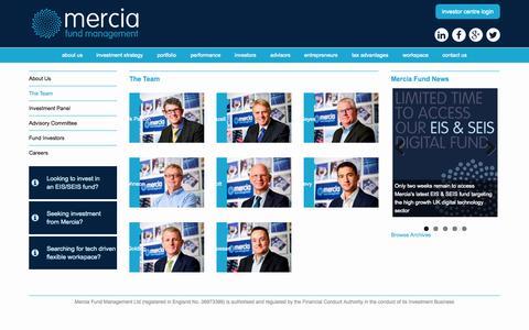 Screenshot of Team Page merciafund.co.uk - The Mercia Fund Management Team - captured Oct. 27, 2014