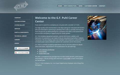Screenshot of Jobs Page gfpuhl.com - G.F. Puhl Career Center - captured Nov. 4, 2018