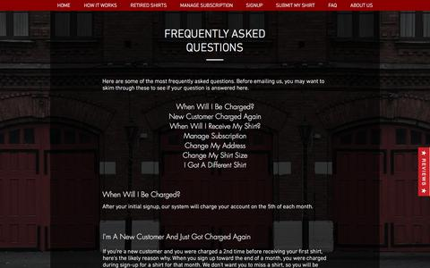 Screenshot of FAQ Page firehouseshirtclub.com - Firehouse Shirt Club | About Us - captured Aug. 13, 2018