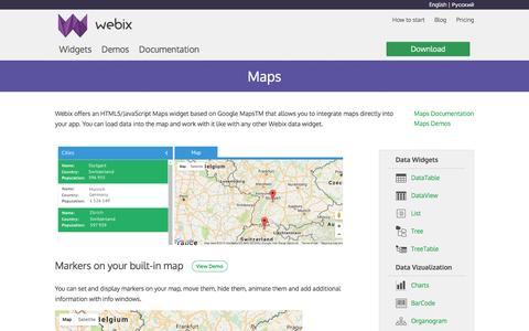 Screenshot of Maps & Directions Page webix.com - Webix Maps UI widget - captured Dec. 3, 2016