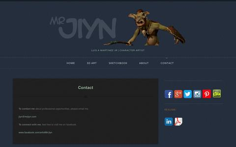 Screenshot of Contact Page mrjiyn.com - Contact | - captured Oct. 7, 2014