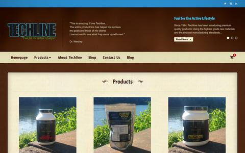 Screenshot of Products Page techlinenutrition.com - Products | Fuel for the Active Lifestyle - captured Oct. 26, 2014