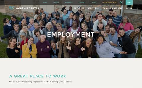 Screenshot of Jobs Page worshipcenter.org - Employment | Worship Center - captured April 24, 2019