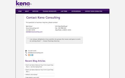 Screenshot of Contact Page kenoconsulting.com - Contact Keno Consulting | Keno Consulting - captured Oct. 6, 2014