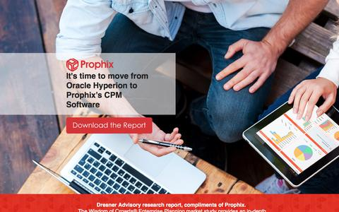Screenshot of Landing Page prophix.com - It's time to move from Oracle Hyperion to Prophix's CPM Software - captured July 14, 2017