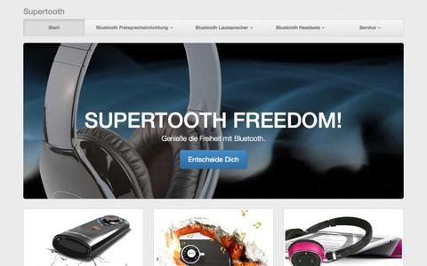 Screenshot of Home Page supertooth.de - Supertoot, Bluetooth Lösungen für Auto und Haus - captured Sept. 17, 2015