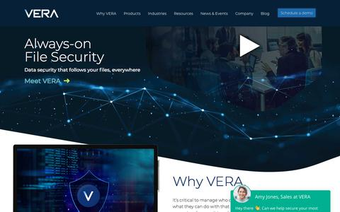 Screenshot of Home Page vera.com - Home - Vera - captured Jan. 10, 2020