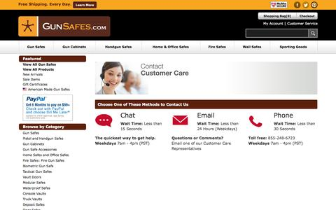 Screenshot of Support Page gunsafes.com - Contact Us - captured Oct. 30, 2014
